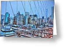 Lower East Side At Dusk From The Brooklyn Bridge Greeting Card