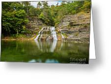 Lower Falls Reflection Of Enfield Glen Greeting Card