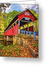 Lower Humbert Covered Bridge 2 - Paint Greeting Card