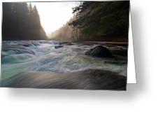 Lower Lewis River Falls During Sunset Greeting Card