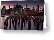 Lower Manhattan At Night Greeting Card