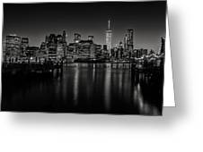 Lower Manhattan From The Brooklyn Piers Greeting Card by Dick Wood