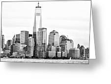 Lower Manhattan In Black And White Greeting Card