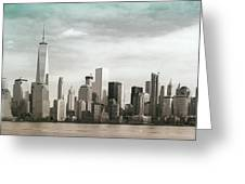 Lower Manhattan Panoramic Skyline Greeting Card