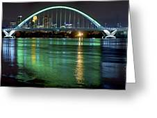 Lowry Bridge In St. Patrick's Day Green Greeting Card