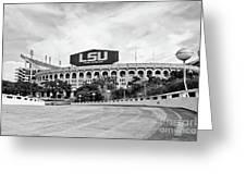 Lsu Tiger Stadium -bw Greeting Card
