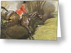 Lt Col Ted Lyon Jumping A Hedge Greeting Card