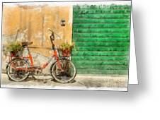 Lucca Italy Bike Watercolor Greeting Card
