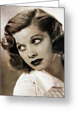Lucille Ball By Mary Bassett Greeting Card