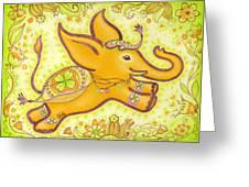 Lucky Elephant Orange Greeting Card