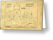 Lucy The Elephant Building Patent Blueprint  Greeting Card