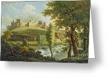 Ludlow Castle With Dinham Weir Greeting Card by Samuel Scott