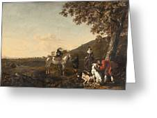 Ludolph De Jongh And Joris Van Der Hagen 1616 Rotterdam - Hillegersberg 1679 Or 1615 Hunting Party A Greeting Card