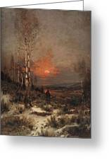 Ludwig Deutsch, Hunting In The Winter Greeting Card