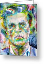 Ludwig Wittgenstein - Watercolor Portrait.3 Greeting Card