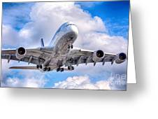 Lufthansa Airbus A380 In Hdr Greeting Card