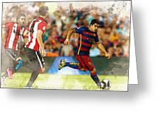 Luis Suarez Takes The Ball Past Athletic Bilbao's Eneko Boveda A Greeting Card
