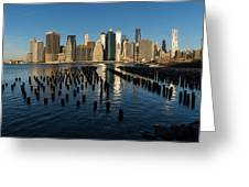 Luminous Blue Silver And Gold - Manhattan Skyline And East River Greeting Card