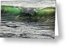 Luminous Evening Light Shines Through Incoming Waves At Hapuna Beach. Greeting Card