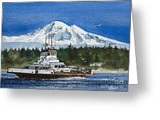 Lummi Island Ferry And Mt Baker Greeting Card