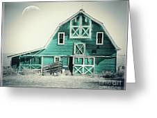 Luna Barn Teal Greeting Card