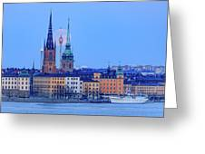 Lunar Teamwork Full Moon Rising Over Gamla Stan In Stockholm Greeting Card