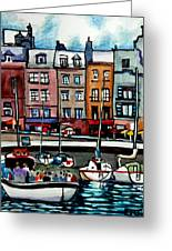 Lunch At The Harbor Greeting Card