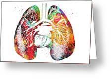 Lungs And Heart Greeting Card