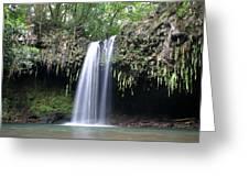 Lush Tropical Waterfall Twin Falls On Maui Hawaii Greeting Card