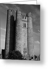 Lusk Round Tower B And W Greeting Card
