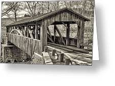 Luther Mills Bridge In Monochrome Greeting Card