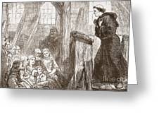 Luther Preaching In The Old Wooden Church At Wittemberg Greeting Card