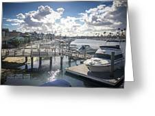 Luxury Boats Moored At Naples Island, Long Beach, Ca Greeting Card