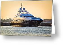 Luxury Yacht On Golen Sunset Greeting Card