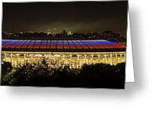 Luzhniki Stadium At Summer Night Against The Background Of The Ministry Of Foreign Affairs, The Cath Greeting Card