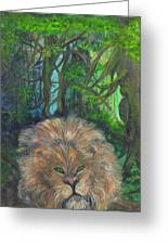 Lying Lion Greeting Card