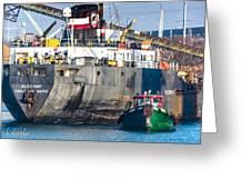 M/v Algoway And Tug Massachusetts Greeting Card