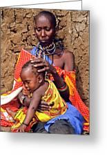 Maasai Grandmother And Child Greeting Card