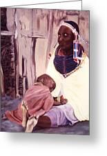 Maasai Woman And Child Greeting Card