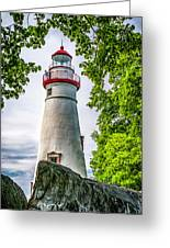 Mablehead Light From The Rocks Greeting Card