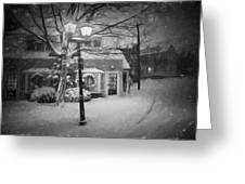Mablehead Market Square Snowstorm Old Town Evening Black And White Painterly Greeting Card