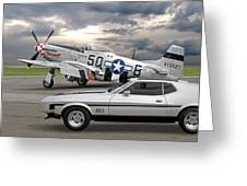 Mach 1 Mustang With P51  Greeting Card