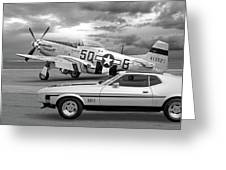 Mach 1 Mustang With P51 In Black And White Greeting Card