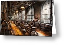 Machinist - A Room Full Of Lathes  Greeting Card by Mike Savad