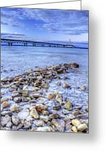 Mackinac Bridge From The Beach Greeting Card by Twenty Two North Photography