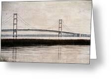 Mackinac Bridge Grunge Greeting Card