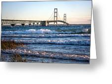 Mackinac Bridge Michigan Greeting Card by Mary Lee Dereske