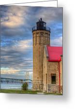 Mackinac Lighthoue And Bridge Greeting Card