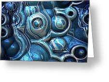 Macro 3d Blue Reflections Greeting Card