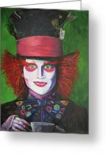 Mad Hatter Johnny D Greeting Card by Charolette A Coulter